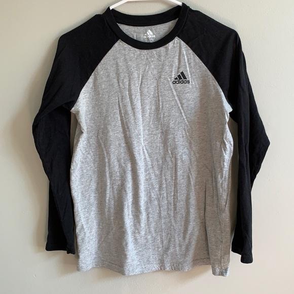 Adidas Kids Raglan Long Sleeve Tee, Sz M 10/12